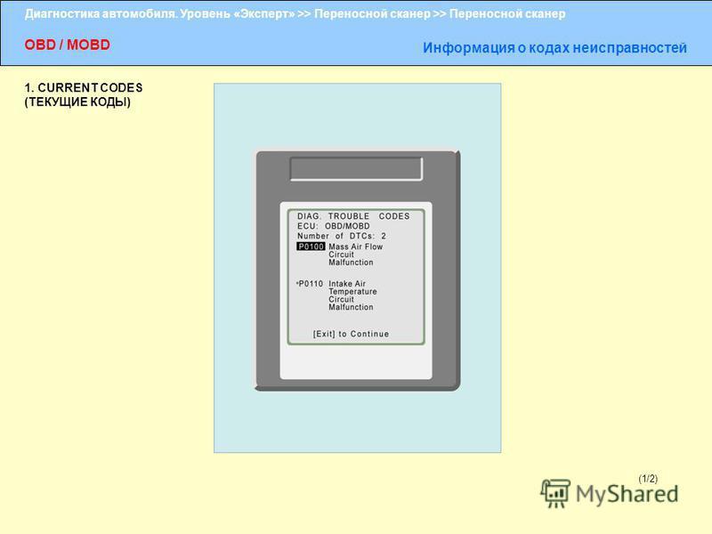 Диагностика автомобиля. Уровень «Эксперт» >> Переносной сканер >> Переносной сканер OBD / MOBD Информация о кодах неисправностей (1/2) 1. CURRENT CODES (ТЕКУЩИЕ КОДЫ)