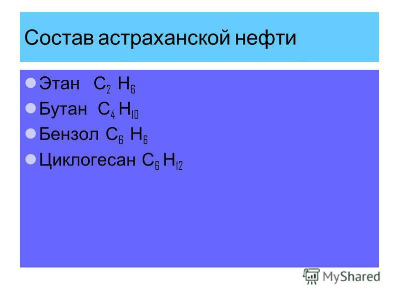 Состав астраханской нефти Этан С 2 Н 6 Бутан С 4 Н 10 Бензол С 6 Н 6 Циклогесан С 6 Н 12