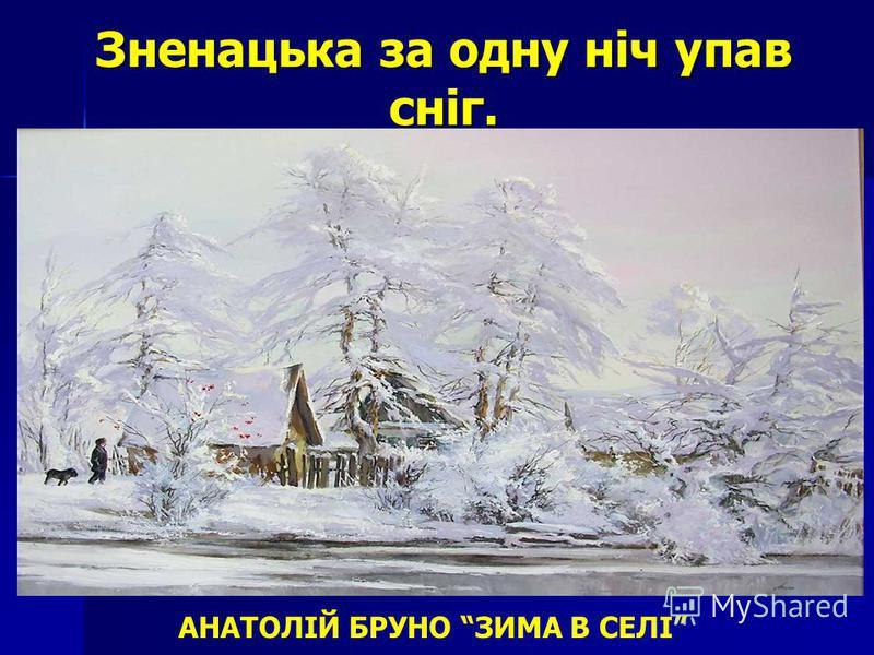 Зненацька за одну ніч упав сніг. АНАТОЛІЙ БРУНО ЗИМА В СЕЛІ