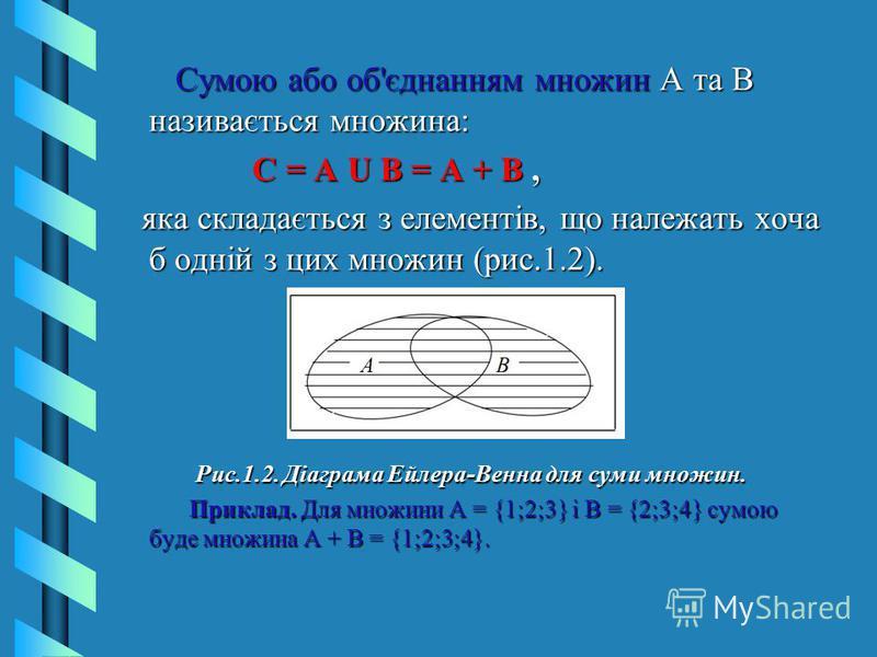 Сумою або об'єднанням множин А та В називається множина: Сумою або об'єднанням множин А та В називається множина: С = А U В = А + В, С = А U В = А + В, яка складається з елементів, що належать хоча б одній з цих множин (рис.1.2). яка складається з ел
