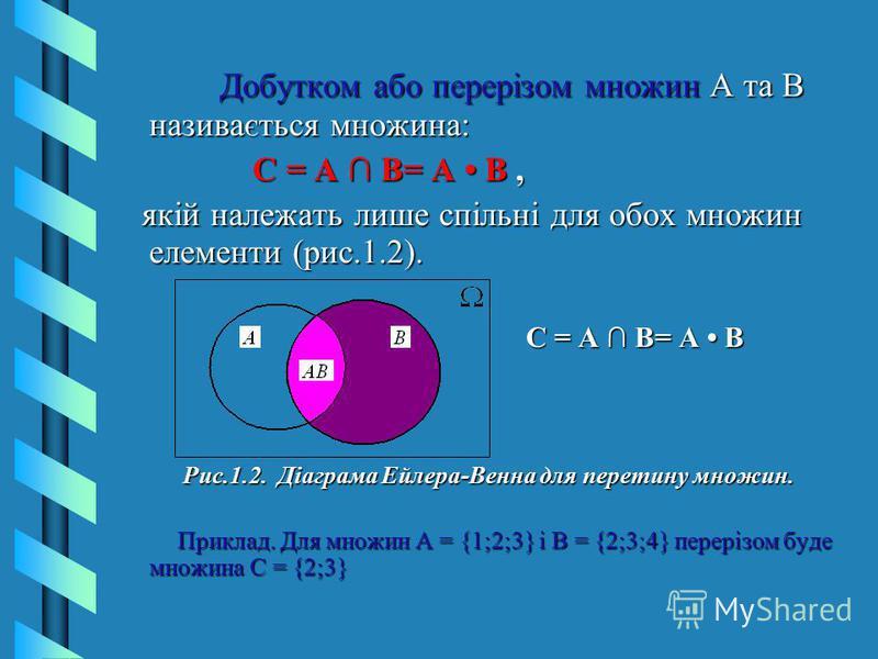 Добутком або перерізом множин А та В називається множина: Добутком або перерізом множин А та В називається множина: С = А В= А В, С = А В= А В, якій належать лише спільні для обох множин елементи (рис.1.2). якій належать лише спільні для обох множин