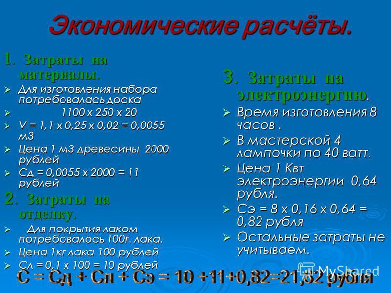 Экономические расчёты. 1. Затраты на материалы. Для изготовления набора потребовалась доска 1 1100 х 250 х 20 V = 1,1 х 0,25 х 0,02 = 0,0055 м 3 Цена 1 м 3 древесины 2000 рублей Сд = 0,0055 х 2000 = 11 рублей 2. Затраты на отделку. Д Для покрытия лак