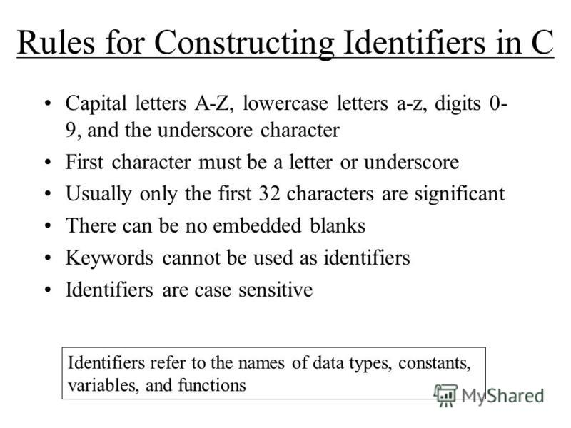 Rules for Constructing Identifiers in C Capital letters A-Z, lowercase letters a-z, digits 0- 9, and the underscore character First character must be a letter or underscore Usually only the first 32 characters are significant There can be no embedded