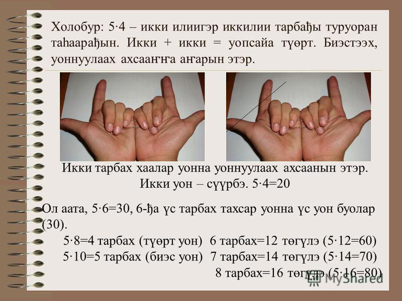 Холобур: 54 – икки илиигэр иккилии тарбађы туруоран таһаарађын. Икки + икки = уопсайа түөрт. Биэстээх, уоннуулаах ахсаа ҥҥ а а ҥ арын этэр. Икки тарбах хаалар уонна уоннуулаах ахсаанын этэр. Икки уон – сүүрбэ. 54=20 Ол аата, 56=30, 6-ђа үс тарбах тах