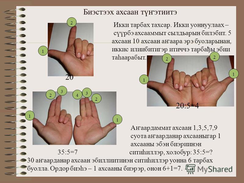 Биэстээх ахсаан тү ҥ этиитэ Икки тарбах тахсар. Икки уоннуулаах – сүүрбэ ахсааммыт сылдьарын билэбит. 5 ахсаан 10 ахсаан а ҥ аара эрэ буоларынан, иккис илиибитигэр итиччэ тарбађы эбии таһаарабыт. 1 2 1 2 2 1 20 20:5=4 4 3 2 1 1 2 3 А ҥ аардаммат ахса