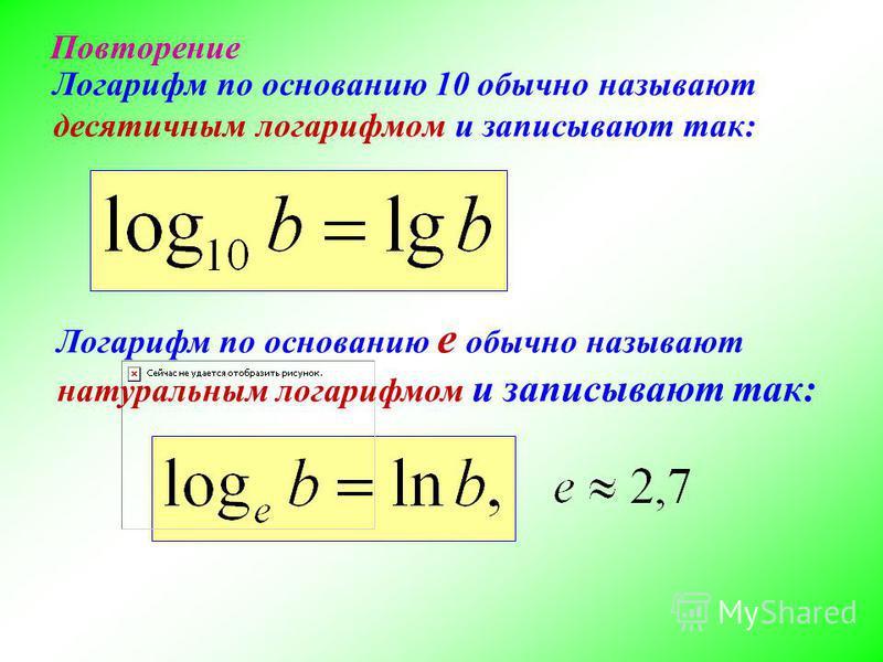 Логарифм по основанию 10 обычно называют десятичным логарифмом и записывают так: Логарифм по основанию e обычно называют натуральным логарифмом и записывают так: Повторение