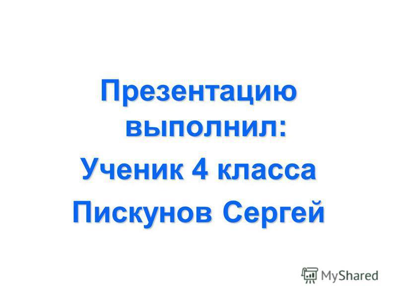 Презентацию выполнил: Ученик 4 класса Пискунов Сергей