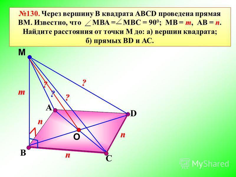 А М D mn 130. Через вершину В квадрата АВСD проведена прямая ВМ. Известно, что МВА = МВС = 90 0 ; МВ = m, АВ = n. Найдите расстояния от точки М до: а) вершин квадрата; б) прямых ВD и АС. В С n m n n O ? ? ? ?
