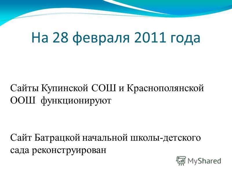 На 28 февраля 2011 года Сайты Купинской СОШ и Краснополянской ООШ функционируют Сайт Батрацкой начальной школы-детского сада реконструирован
