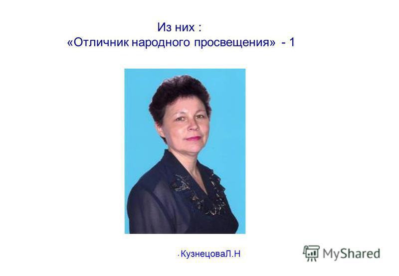 Из них : «Отличник народного просвещения» - 1. КузнецоваЛ.Н