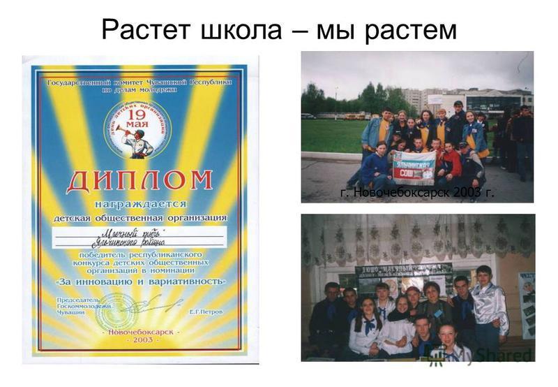 Растет школа – мы растем г. Новочебоксарск 2003 г.