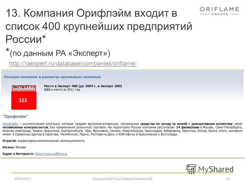 13. Компания Орифлэйм входит в список 400 крупнейших предприятий России* * (по данным РА «Эксперт») 212015-07-27Copyright ©2012 by Oriflame Cosmetics SA http://raexpert.ru/database/companies/oriflame/