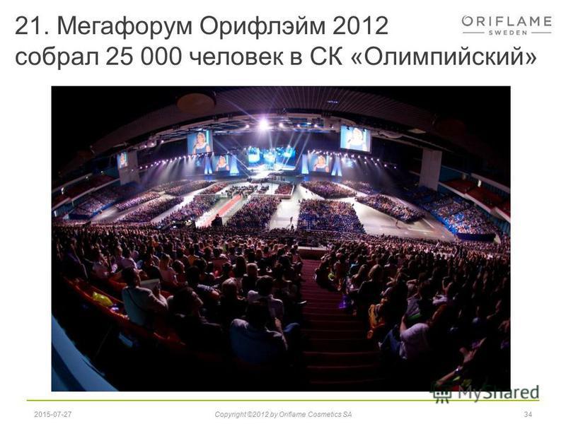 21. Мегафорум Орифлэйм 2012 собрал 25 000 человек в СК «Олимпийский» 342015-07-27Copyright ©2012 by Oriflame Cosmetics SA