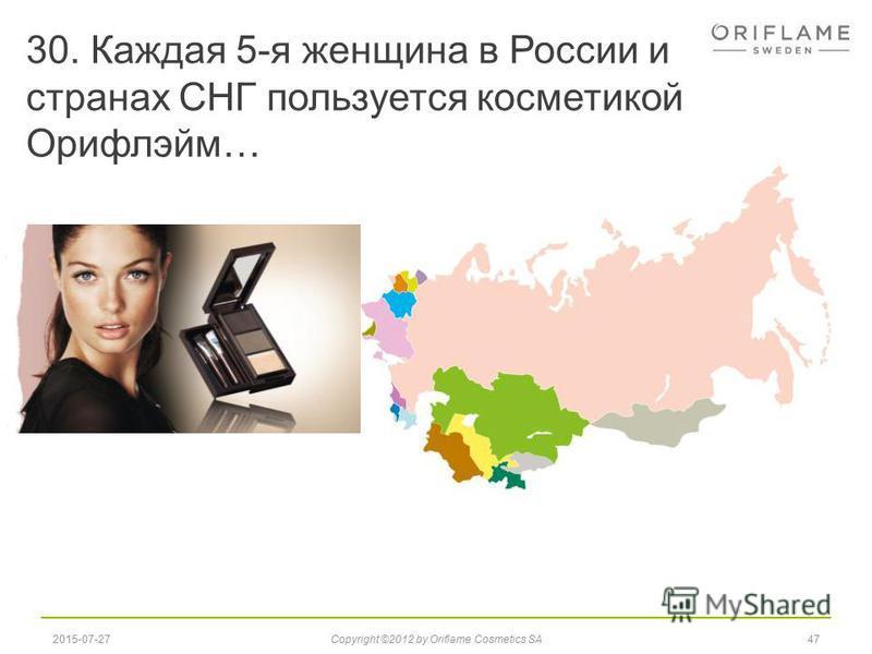 30. Каждая 5-я женщина в России и странах СНГ пользуется косметикой Орифлэйм… 472015-07-27Copyright ©2012 by Oriflame Cosmetics SA