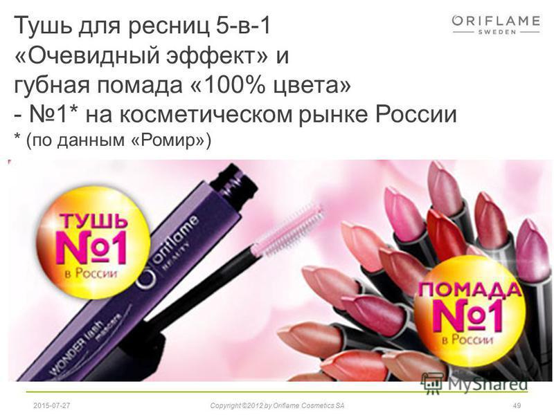 Тушь для ресниц 5-в-1 «Очевидный эффект» и губная помада «100% цвета» - 1* на косметическом рынке России * (по данным «Ромир») 492015-07-27Copyright ©2012 by Oriflame Cosmetics SA