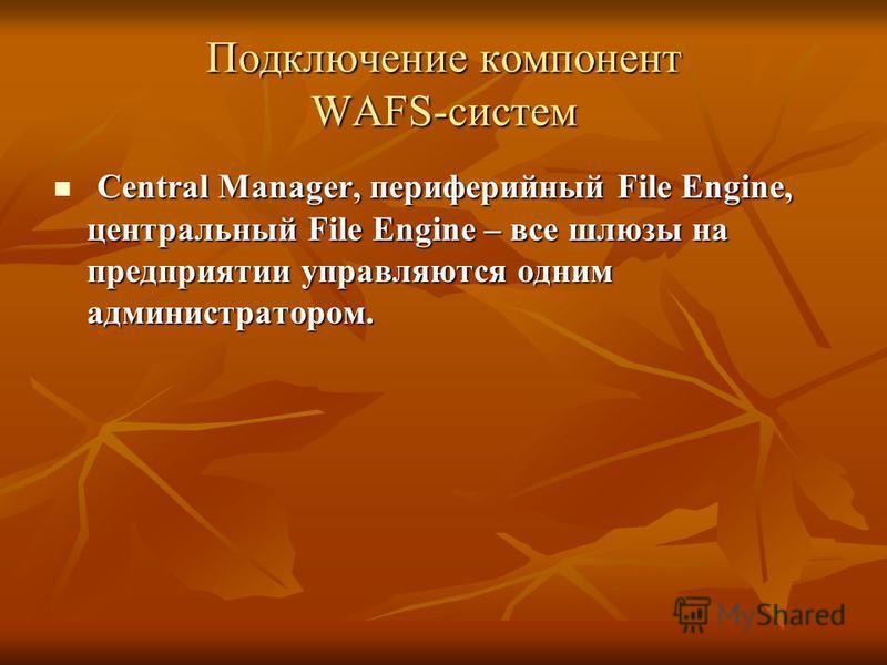 Подключение компонент WAFS-систем Central Manager, периферийный File Engine, центральный File Engine – все шлюзы на предприятии управляются одним администратором. Central Manager, периферийный File Engine, центральный File Engine – все шлюзы на предп