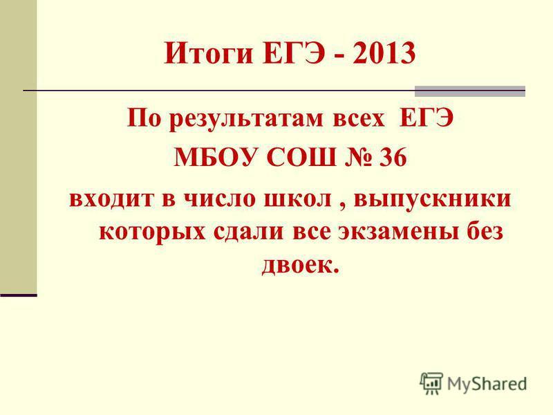 Итоги ЕГЭ - 2013 По результатам всех ЕГЭ МБОУ СОШ 36 входит в число школ, выпускники которых сдали все экзамены без двоек.