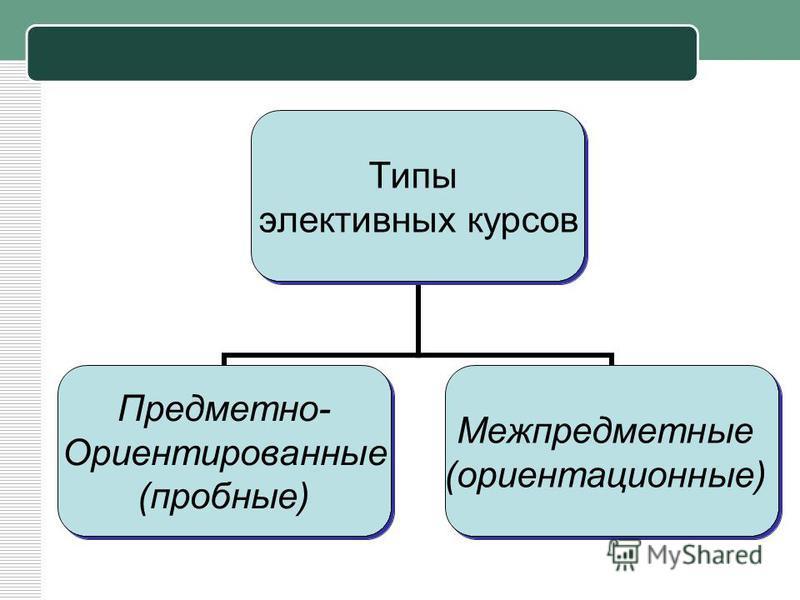Типы элективных курсов Предметно- Ориентированные (пробные) Межпредметные (ориентационные)