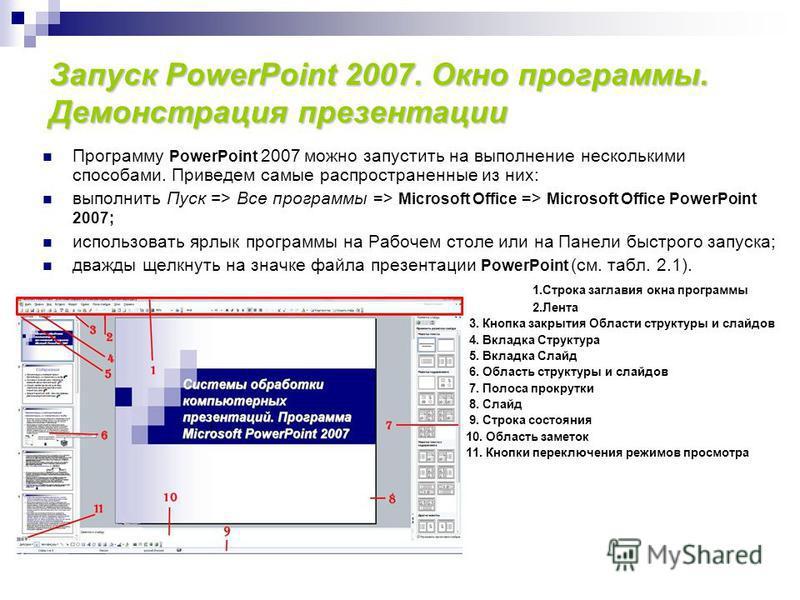Запуск PowerPoint 2007. Окно программы. Демонстрация презентации Программу PowerPoint 2007 можно запустить на выполнение несколькими способами. Приведем самые распространенные из них: выполнить Пуск => Все программы => Microsoft Office => Microsoft O