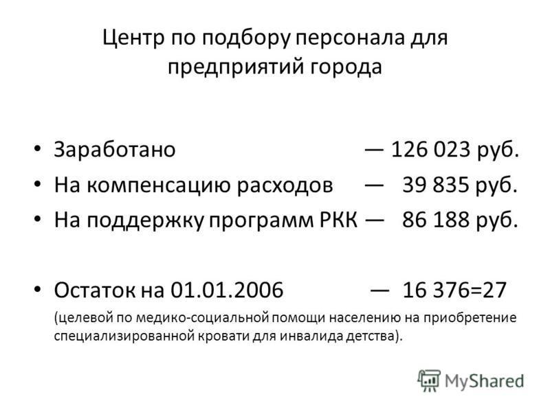 Центр по подбору персонала для предприятий города Заработано 126 023 руб. На компенсацию расходов 39 835 руб. На поддержку программ РКК 86 188 руб. Остаток на 01.01.2006 16 376=27 (целевой по медико-социальной помощи населению на приобретение специал