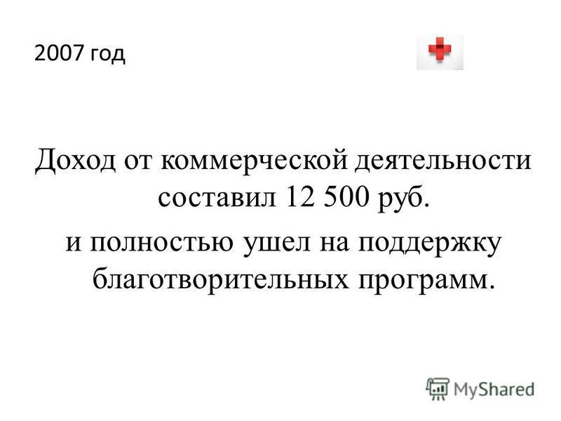 2007 год Доход от коммерческой деятельности составил 12 500 руб. и полностью ушел на поддержку благотворительных программ.