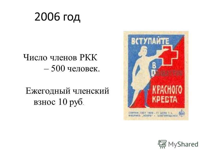 2006 год Число членов РКК – 500 человек. Ежегодный членский взнос 10 руб.