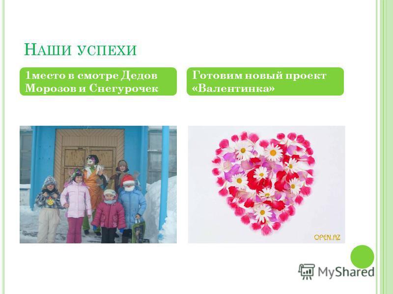 Н АШИ УСПЕХИ 1 место в смотре Дедов Морозов и Снегурочек Готовим новый проект «Валентинка»