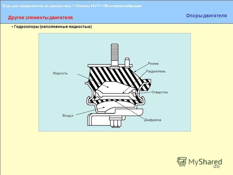 (1/2) Курс для специалистов по диагностике >> Основы NVH >> Источники вибрации Другие элементы двигателя Опоры двигателя - Гидроопоры (наполненные жидкостью) Жидкость Резина Разделитель Отверстие Диафрагма Воздух (2/2)