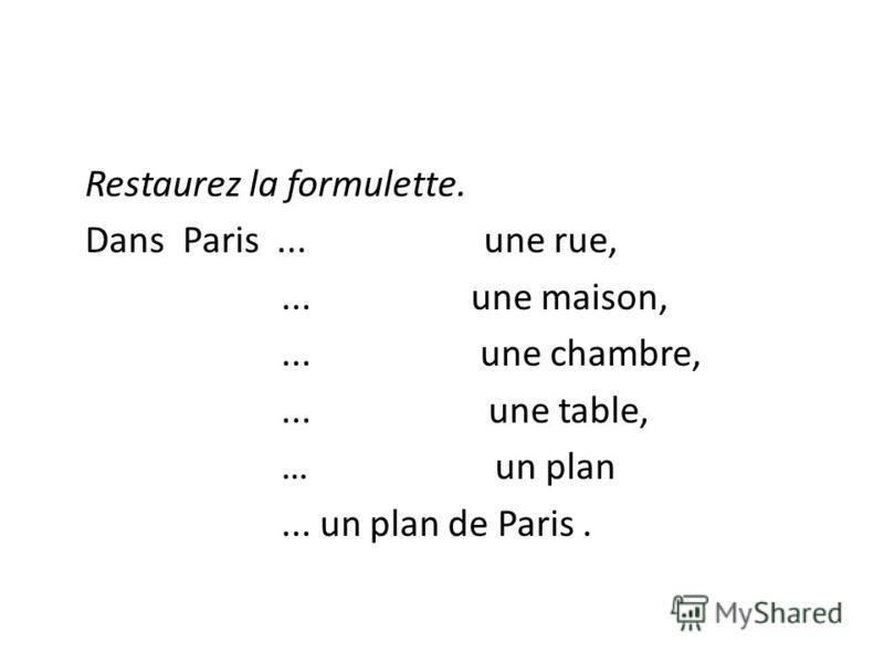 Restaurez la formulette. Dans Paris... une rue,... une maison,... une chambre,... une table, … un plan... un plan de Paris.