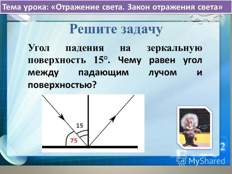 Тема урока: «Отражение света. Закон отражения света» Решите задачу Угол падения на зеркальную поверхность 15°. Чему равен угол между падающим лучом и поверхностью?