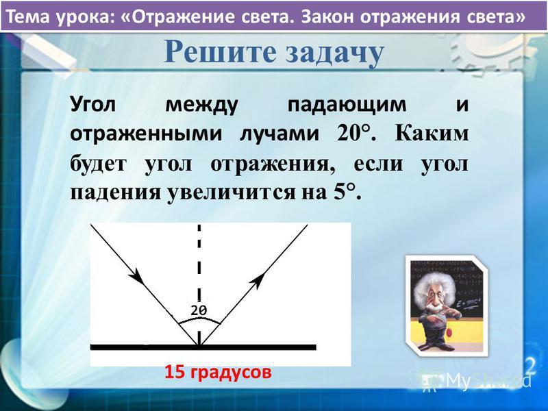 Тема урока: «Отражение света. Закон отражения света» Решите задачу Угол между падающим и отраженными лучами 20°. Каким будет угол отражения, если угол падения увеличится на 5°. 15 градусов