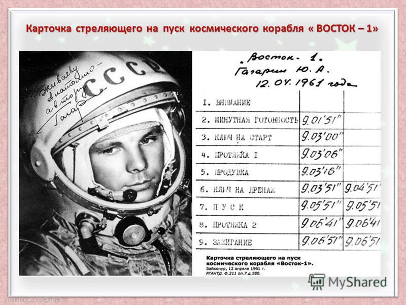 FokinaLida.75@mail.ru «Быть первым в космосе, - сказал Гагарин перед стартом, - вступить один на один в небывалый поединок с природой, - можно ли мечтать о большем? Но вслед за этим я подумал о той колоссальной ответственности, которая легла на меня…