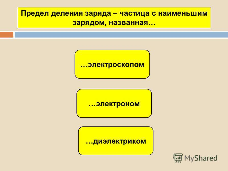 …электроном …диэлектриком …электроскопом Предел деления заряда – частица с наименьшим зарядом, названная…