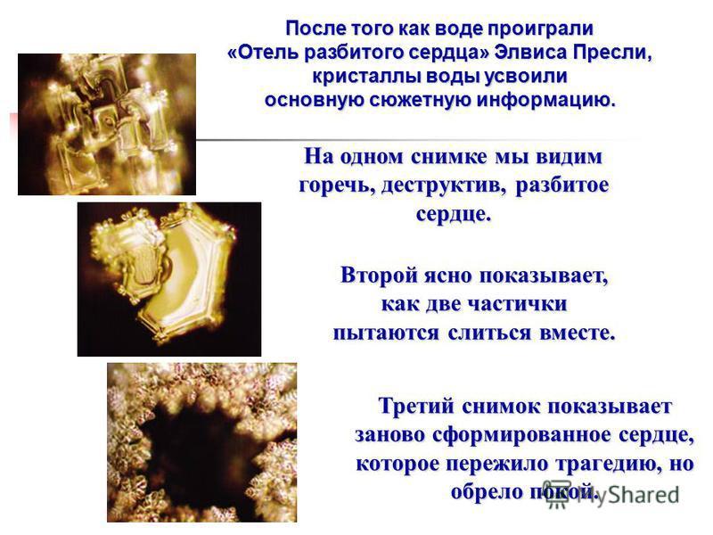 После того как воде проиграли «Отель разбитого сердца» Элвиса Пресли, кристаллы воды усвоили основную сюжетную информацию. На одном снимке мы видим горечь, деструктив, разбитое сердце. Второй ясно показывает, как две частички пытаются слиться вместе.