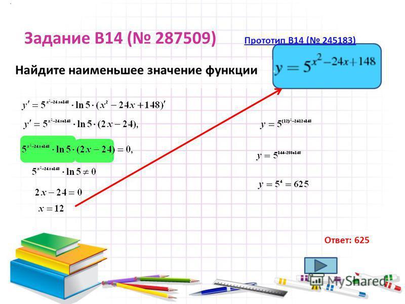 Задание B14 ( 287509) Прототип B14 ( 245183) Прототип B14 ( 245183) Найдите наименьшее значение функции. Ответ: 625