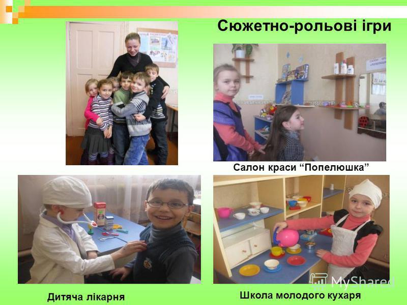 Сюжетно-рольові ігри Дитяча лікарня Школа молодого кухаря Салон краси Попелюшка