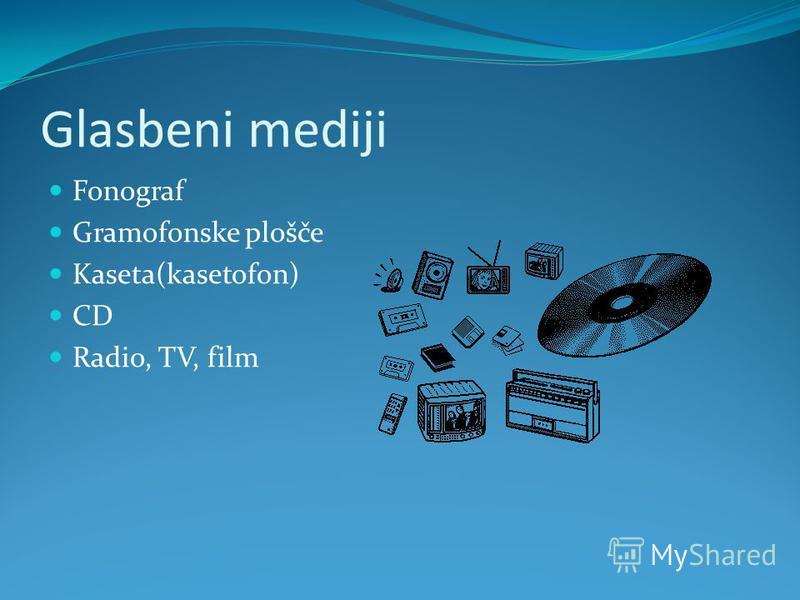 Glasbeni mediji Fonograf Gramofonske plošče Kaseta(kasetofon) CD Radio, TV, film