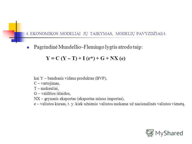 4. EKONOMIKOS MODELIAI JŲ TAIKYMAS, MODELIŲ PAVYZDŽIAI(4. Pagrindinė Mundellio–Flemingo lygtis atrodo taip: Y = C (Y – T) + I (r*) + G + NX (e) kai Y – bendrasis vidaus produktas (BVP), C – vartojimas, T – mokesčiai, G – valdžios išlaidos, NX – gryna