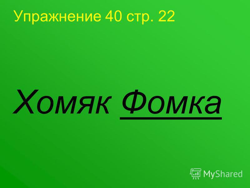 Упражнение 40 стр. 22 Хомяк Фомка