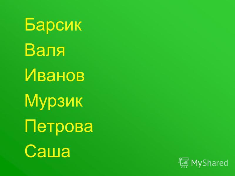 Барсик Валя Иванов Мурзик Петрова Саша