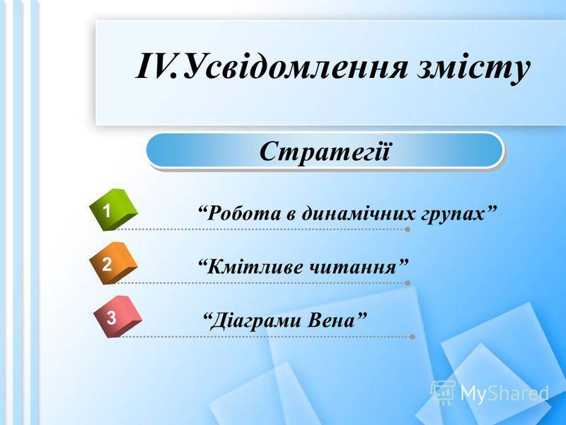 ІV.Усвідомлення змісту Робота в динамічних групах 1 Кмітливе читання 2 Діаграми Вена 3 Стратегії