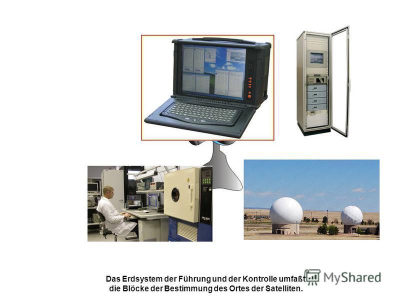 Das Erdsystem der Führung und der Kontrolle umfaßt die Blöcke der Bestimmung des Ortes der Satelliten.