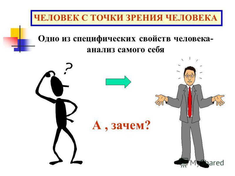 ЧЕЛОВЕК С ТОЧКИ ЗРЕНИЯ ЧЕЛОВЕКА Одно из специфических свойств человека- анализ самого себя А, зачем?