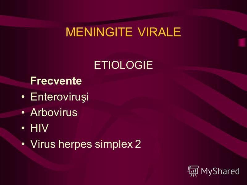 MENINGITE VIRALE ETIOLOGIE Frecvente Enteroviruşi Arbovirus HIV Virus herpes simplex 2
