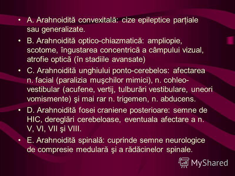 A. Arahnoidită convexitală: cize epileptice parţiale sau generalizate. B. Arahnoidită optico-chiazmatică: ampliopie, scotome, îngustarea concentrică a câmpului vizual, atrofie optică (în stadiile avansate) C. Arahnoidită unghiului ponto-cerebelos: af