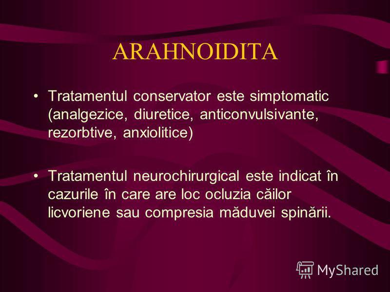 ARAHNOIDITA Tratamentul conservator este simptomatic (analgezice, diuretice, anticonvulsivante, rezorbtive, anxiolitice) Tratamentul neurochirurgical este indicat în cazurile în care are loc ocluzia căilor licvoriene sau compresia măduvei spinării.