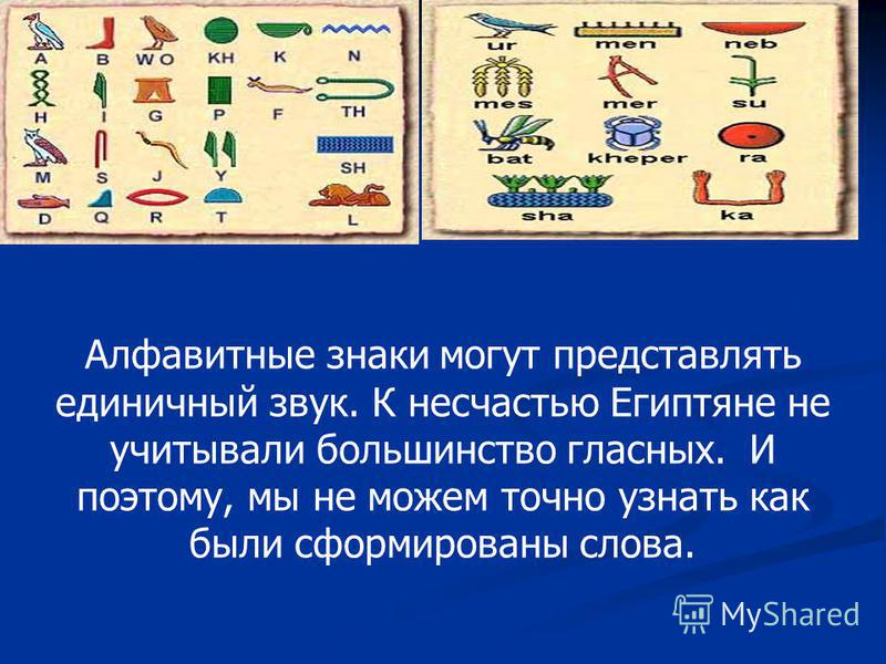 Алфавитные знаки могут представлять единичный звук. К несчастью Египтяне не учитывали большинство гласных. И поэтому, мы не можем точно узнать как были сформированы слова.