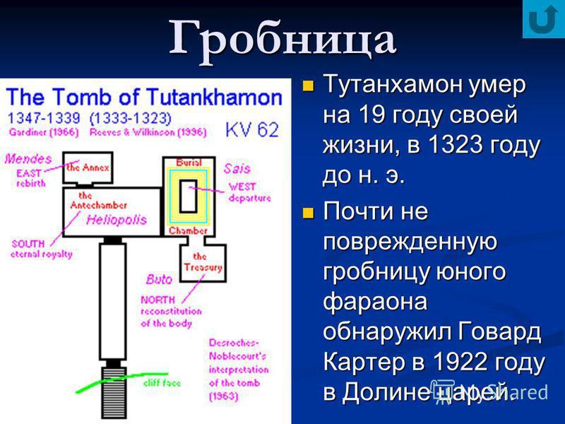 Гробница Тутанхамон умер на 19 году своей жизни, в 1323 году до н. э. Почти не поврежденную гробницу юного фараона обнаружил Говард Картер в 1922 году в Долине царей.