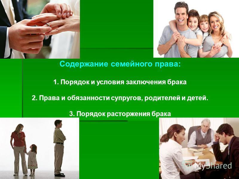 Содержание семейного права: 1. Порядок и условия заключения брака 2. Права и обязанности супругов, родителей и детей. 3. Порядок расторжения брака