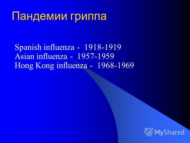Пандемии гриппа Spanish influenza - 1918-1919 Asian influenza - 1957-1959 Hong Kong influenza - 1968-1969